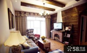 美式乡村风格客厅吊顶装修效果图片