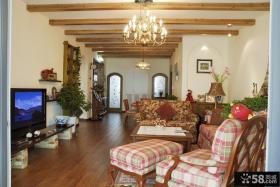 田园风格装修小户型客厅有梁吊顶效果图