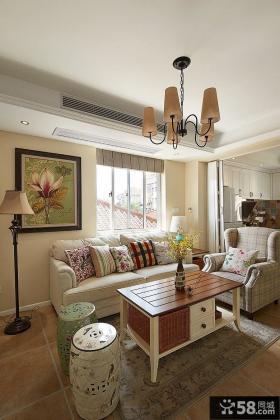 美式田园风格小客厅效果图