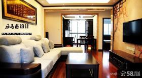 简约中式风格客厅沙发电视背景墙效果图