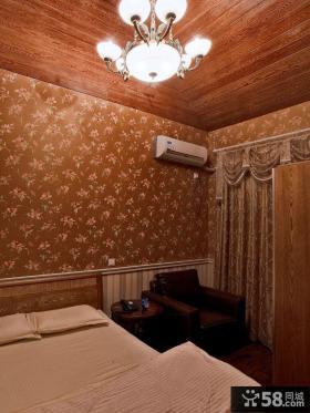 田园风格卧室墙纸效果图