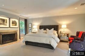 四室一厅装修样板房卧室壁炉装修效果图