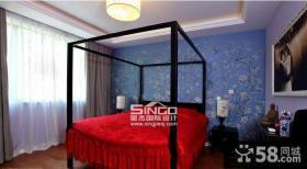 中式婚房卧室花纹墙纸贴图