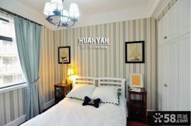 地中海风格卧室壁纸装修效果图片