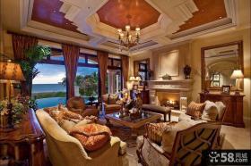 法式风格别墅客厅吊顶效果图
