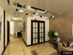 两房一厅现代简约风格玄关吊顶装修效果图
