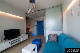 地中海复式客厅电视背景墙图片欣赏