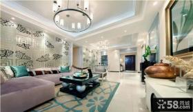 简欧式二居室客厅沙发背景墙拼花效果图