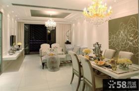 简欧小户型客厅餐厅一体装修效果图欣赏