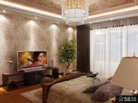 中式卧室电视墙壁纸图片
