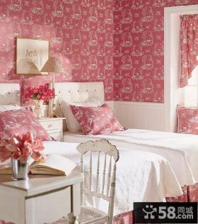 卧室粉色壁纸装修效果图