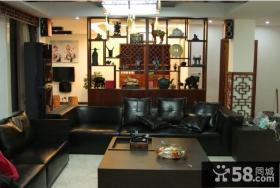 现代中式客厅博古架效果图