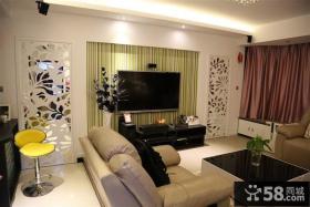 小户型客厅条纹壁纸电视机背景墙装修效果图