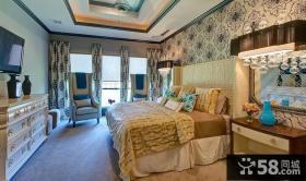 欧式现代风格卧室背景墙窗帘装修效果图