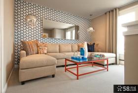 简约风格客厅沙发背景墙装修效果图