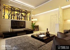 现代客厅影视墙装修效果图片大全