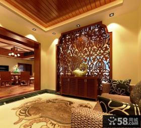 新中式别墅客厅玄关装修
