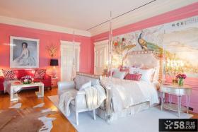 欧式主卧室床头背景墙效果图
