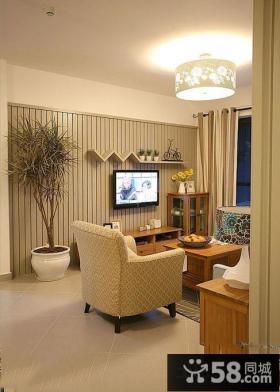 美式小户型客厅电视背景墙效果图