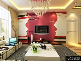 现代风格客厅电视背景墙效果图1