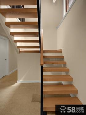 别墅木质楼梯设计效果图