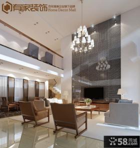 现代别墅客厅电视背景墙装修设计效果图