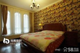 美式乡村风格卧室床头壁纸效果图