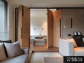 简约风格客厅实木折叠门效果图