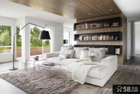 简欧风格客厅书柜背景墙天花板装修效果图