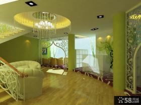 欧式田园复式楼客厅走廊吊顶装修效果图