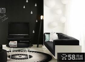 简约时尚客厅黑色电视背景墙装修效果图