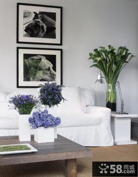 小户型白色简约客厅沙发背景墙装修效果图