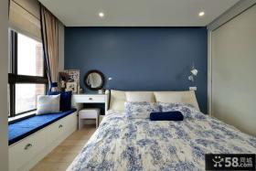 蓝色简约美式卧室设计