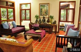客厅东南亚风格家具效果效果图片
