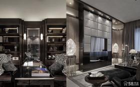 后现代风格客厅电视机背景墙样板间装修