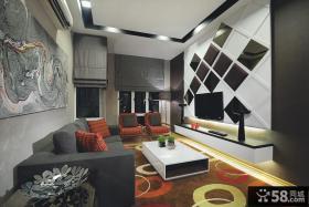 现代客厅黑白菱形电视背景墙装修效果图