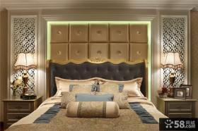 家居卧室床头软包背景墙效果图