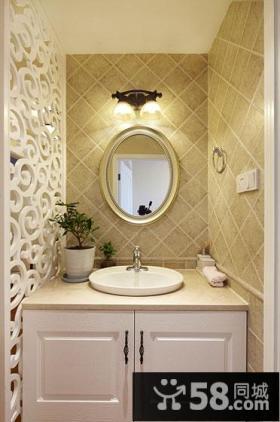 美式风格卫生间洗手池马赛可墙面效果图