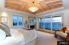 浪漫卧室装修效果图 主卧室与阳台效果图