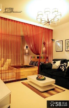 现代60平米小户型客厅卧室隔断装修效果图