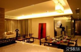 新中式家居客餐厅一体吊顶装修图片