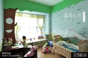 儿童房卧室壁纸带飘窗装修效果图