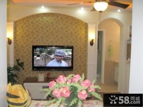 50平小田园装修风格客厅电视背景墙设计效果图