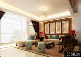 中式一居沙发背景墙装修效果图大全2014图片