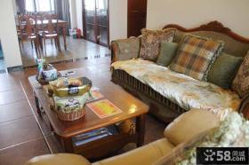 美式乡村风格客厅家具实木茶几图片