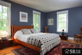 深蓝色的浪漫地中海风格装修卧室图片