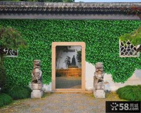 中式古典农村别墅围墙效果图