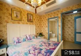 地中海田园风格卧室墙纸效果图片