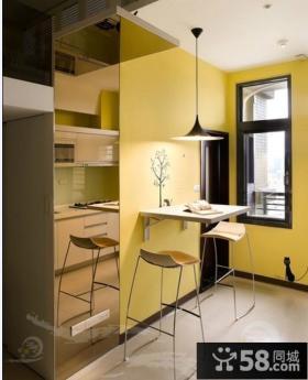 60平米小户型loft现代公寓装修 黄色彩绘画背景墙装修图片