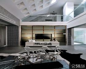 现代风格黑白经典客厅电视背景墙装修效果图